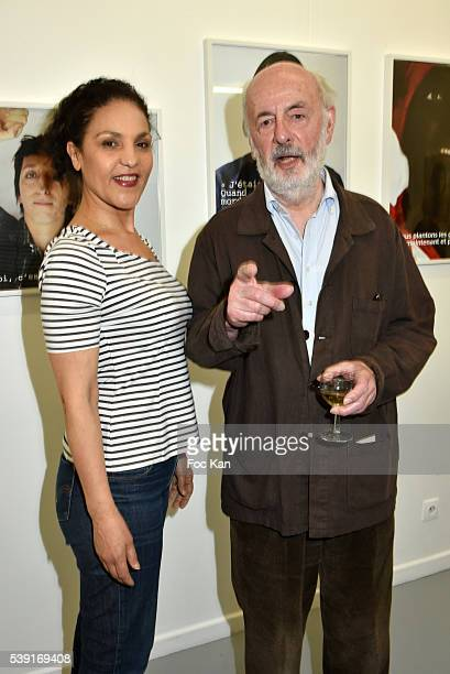 Actress Farida Rahouadj and her husband director Bertrand Blier attend 55 Politiques Exhibition Preview at Galerie Dupin on June 9 2016 in Paris...