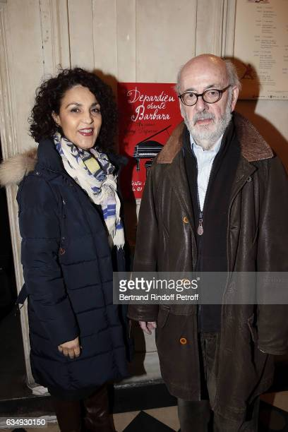 Actress Farida Rahouadj and his Husband Director Bertrand Blier attend Depardieu chante Barbara at Theatre des Bouffes du Nord on February 11 2017 in...
