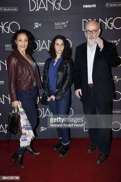 Actress Farida Rahouadj Leila Blier and Director Bertrand Blier attend Django Paris Premiere at Le Grand Rex on April 3 2017 in Paris France