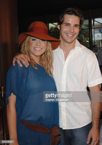 Actress Farrah Fath and actor Jason Cook attend the world premiere of Dirty Deeds at the Directors Guild of America on August 23 2005 in Los Angeles...