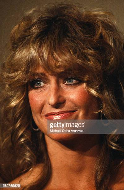 Actress Farrah Fawcett poses backstage during the 52nd Academy Awards at Dorothy Chandler Pavilion in Los AngelesCalifornia