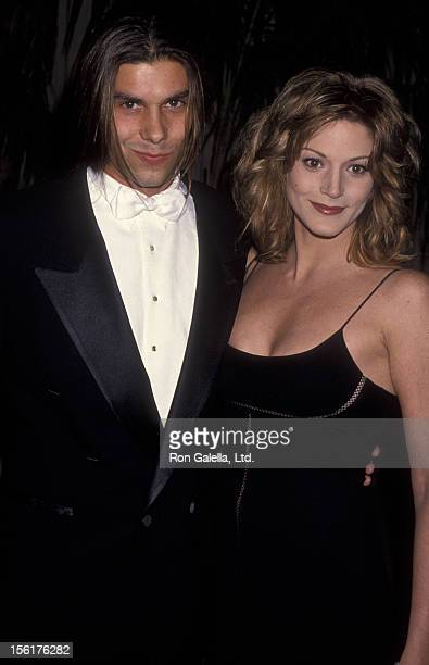 Actress Farrah Forke and date attend the taping of 'Golden Globes 50th Anniversary Celebration' on November 20 1993 at NBC Studios in Burbank...