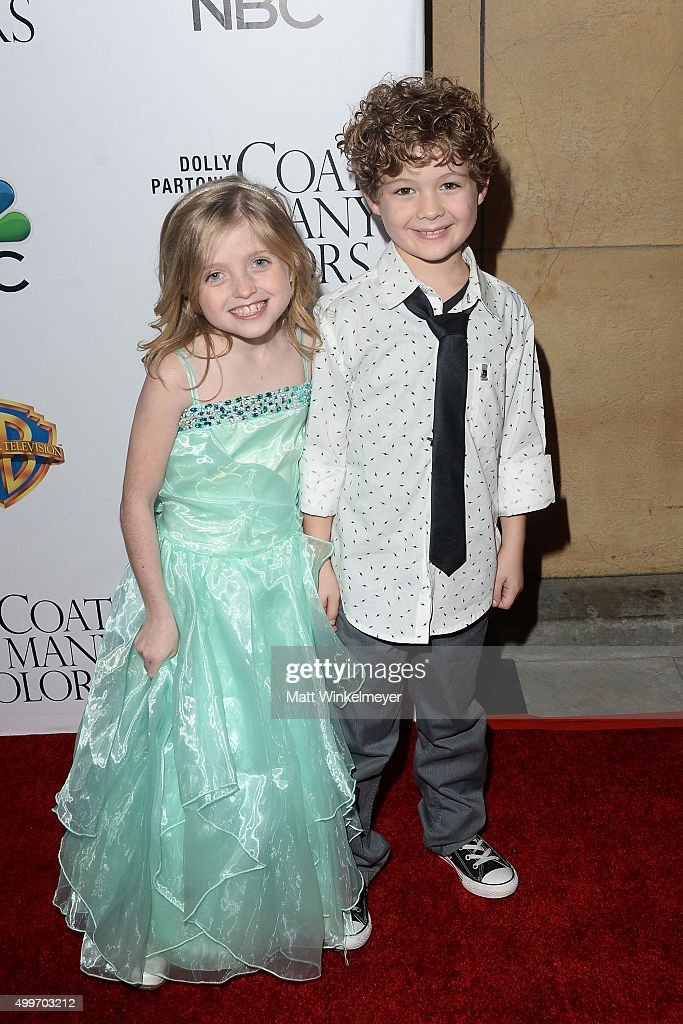 Actress Farrah Mackenzie(L) and actor Blane Crockarell(R) arrive at the premiere of Warner Bros. Television's 'Dolly Parton's Coat of Many Colors' at the Egyptian Theatre on December 2, 2015 in Hollywood, California.