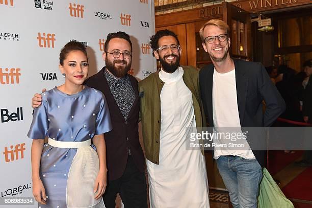 Actress Fatima AlBanawi Director Mahmoud Sabbagh Actor Hisham Fageeh and Ricardo Monastier attend the Barakah Meets Barakah premiere during the 2016...