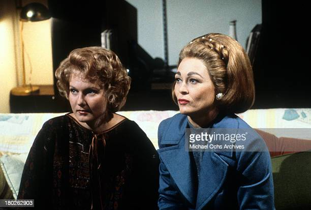 Actress Faye Dunaway and Diana Scarwid on the set of Paramount Pictures movie ' Mommie Dearest' in 1981