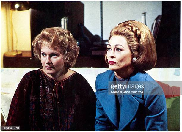Actress Faye Dunaway and Diana Scarwid on the set of Paramount Pictures movie Mommie Dearest in 1981
