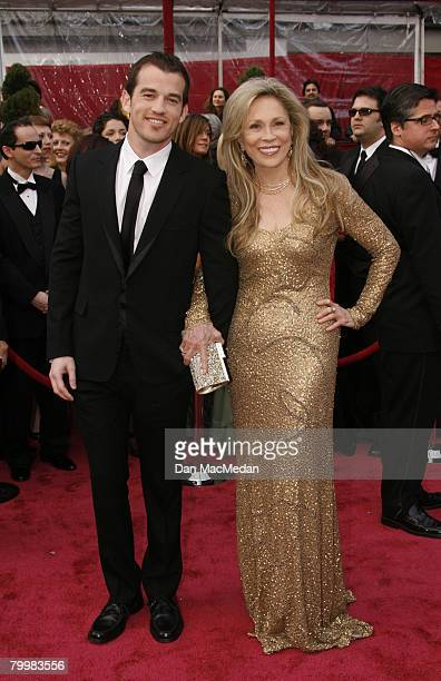 Actress Faye Dunaway and her son Liam O'Neill arrive on the red carpet for The 80th Annual Academy Awards held at the Kodak Theater on February 24...