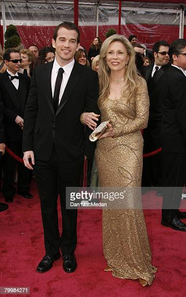 Actress Faye Dunaway and her son Liam O'Neill arrive on the red carpet for The 80th Annual Academy Awards held at the Kodak Theater on February 24,...