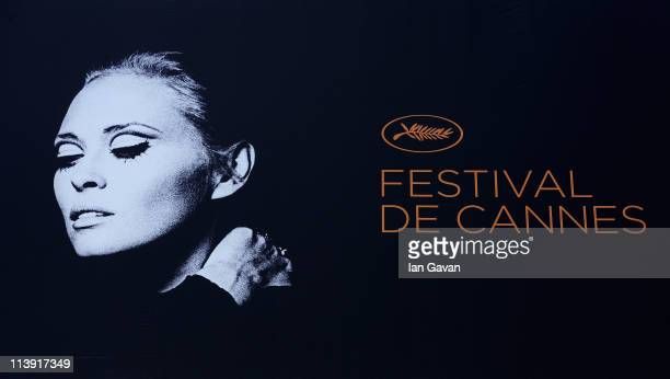 Actress Faye Dunaway appears on the Palais des Festivals poster as preparations are made prior to the 64th Cannes Film Festival on May 10 2011 in...