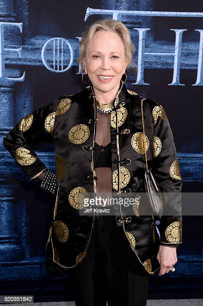 """Actress Faye Dunaway attends the premiere for the sixth season of HBO's """"Game Of Thrones"""" at TCL Chinese Theatre on April 10, 2016 in Hollywood City."""