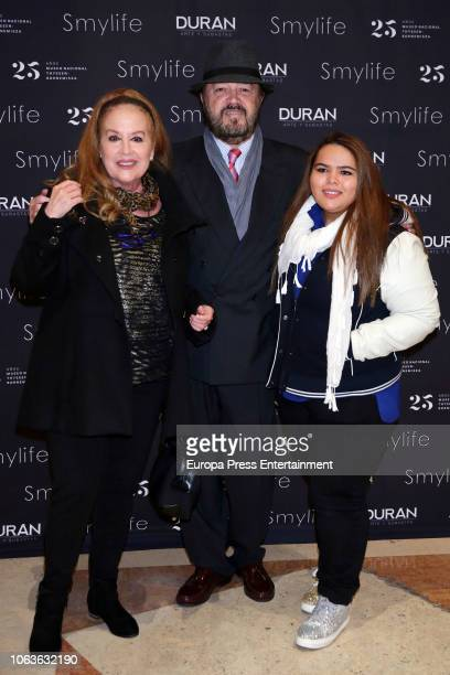 Actress Fedra Lorente Miguel Morales and Alejandra Morales attend the Smylife collection Beauty Art IV charity auction at the Thyssen Museum on...