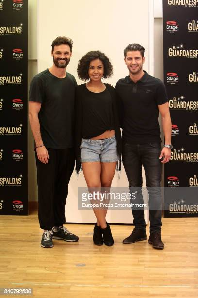 Actress Fela Dominguez actor Ivan Sanchez and actor Maxi Iglesias are seen during the rehearsal of the musical 'The bodyguard' on August 29 2017 in...