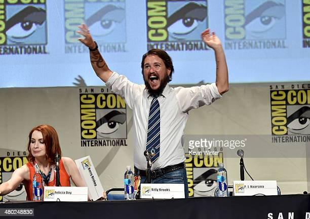 Actress Felicia Day and actor Wil Wheaton speak onstage during Con Man The Fan Revolt 13 Years In The Making panel during ComicCon International 2015...