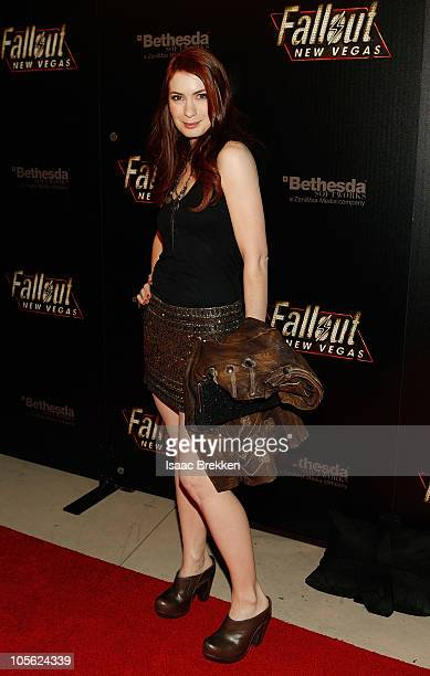Actress Felicia Day arrives at the launch party for the video game 'Fallout New Vegas' at the Rain Nightclub inside the Palms Casino Resort October...