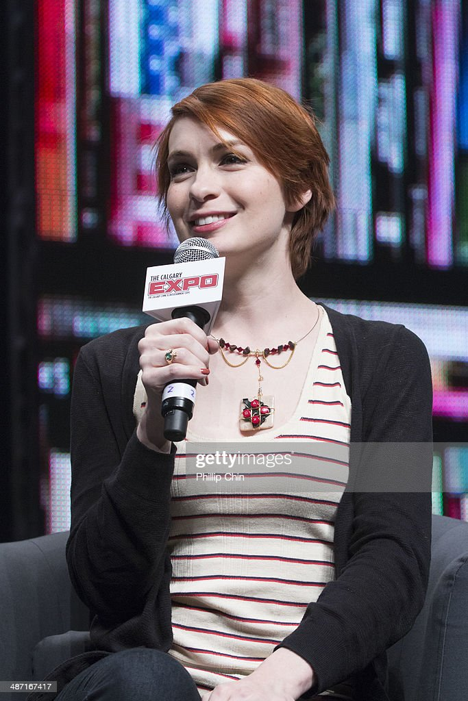 Actress Felicia Day shares her experiences on 'The Guild' and other projects in the 'Spotlight on Felicia Day' panel discussion at the Stampede Corral during the Calgary Comic and Entertainment Expo on April 27, 2014 in Calgary, Canada.