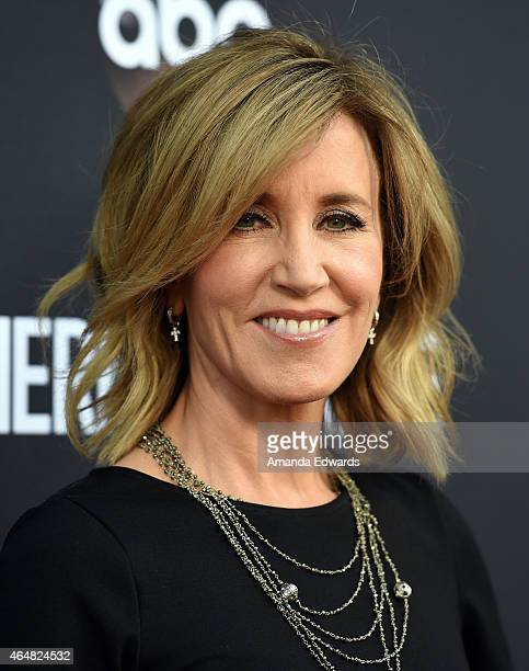 """Actress Felicity Huffman arrives at the """"American Crime"""" premiere event at the Ace Hotel on February 28, 2015 in Los Angeles, California."""