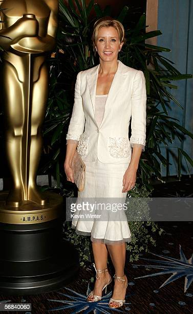 Actress Felicity Huffman arrives at the Oscar Nominees Luncheon at the Beverly Hilton Hotel on February 13 2006 in Beverly Hills California