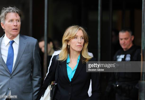 Actress Felicity Huffman center leaves the John Joseph Moakley United States Courthouse in Boston on April 3 2019 Hollywood stars Felicity Huffman...