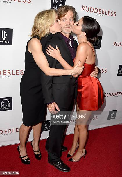 Actress Felicity Huffman director/writer/actor William H Macy and actress Selena Gomez attend Rudderless VIP Screening at the Vista Theatre on...