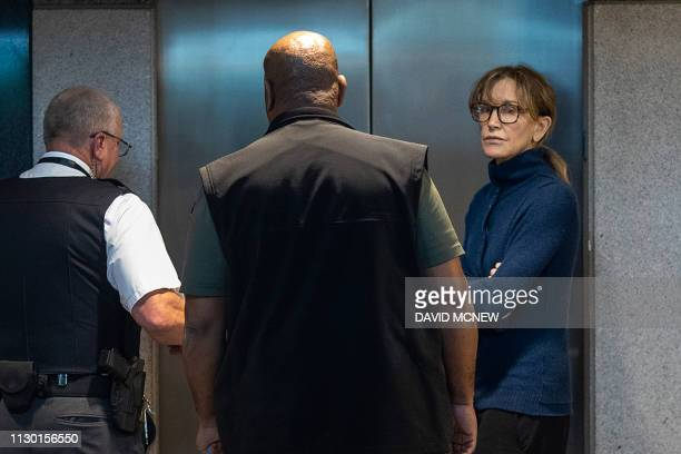 Actress Felicity Huffman is seen inside the Edward R Roybal Federal Building and US Courthouse in Los Angeles on March 12 2019 Two Hollywood...
