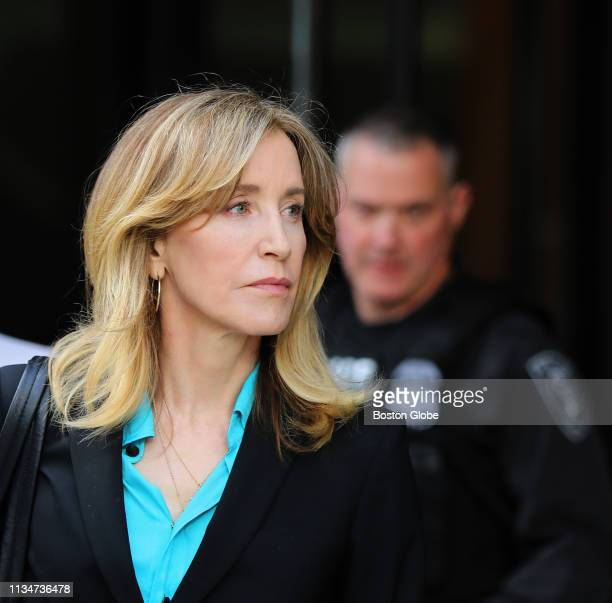 Actress Felicity Huffman leaves the John Joseph Moakley United States Courthouse in Boston on April 3 2019 Hollywood stars Felicity Huffman and Lori...