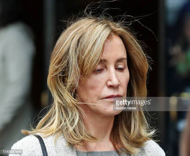 Actress Felicity Huffman leaves the John Joseph Moakley United States Courthouse in Boston on May 13, 2019. Huffman was among 50 people charged in...
