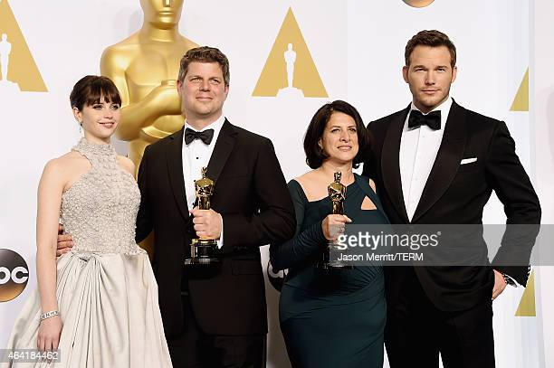 Actress Felicity Jones, Adam Stockhausen, Anna Pinnock, winners of the Best Production Design Award for 'The Grand Budapest Hotel', and actor Chris...
