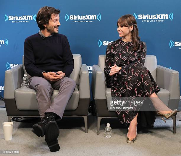 Actress Felicity Jones and actor Diego Luna speak during SiriusXM's Town Hall With The Cast Of 'Rogue One A Star Wars Story' Town Hall to air on...