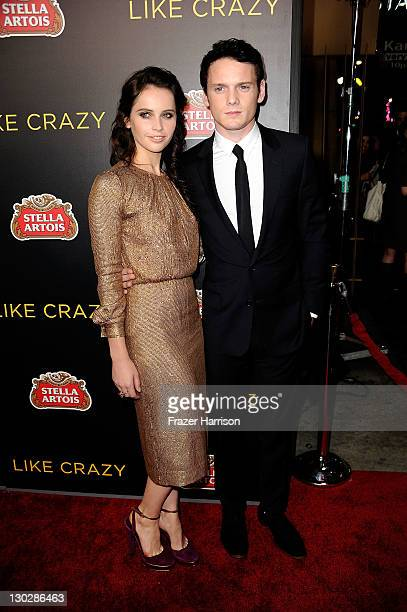 Actress Felicity Jones and Anton Yelchin arrive at the Premiere of Paramount Pictures' 'Like Crazy' held at the Egyptian Theater on October 25 2011...
