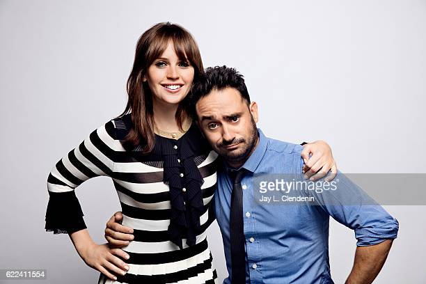 Actress Felicity Jones and director JA Bayona from the film 'A Monster Calls' pose for a portraits at the Toronto International Film Festival for Los...