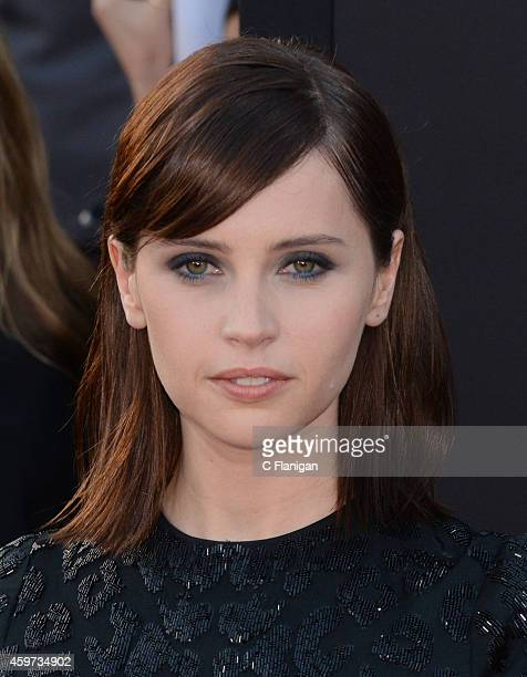 Actress Felicity Jones arrives at the 18th Annual Hollywood Film Awards at The Palladium on November 14 2014 in Hollywood California