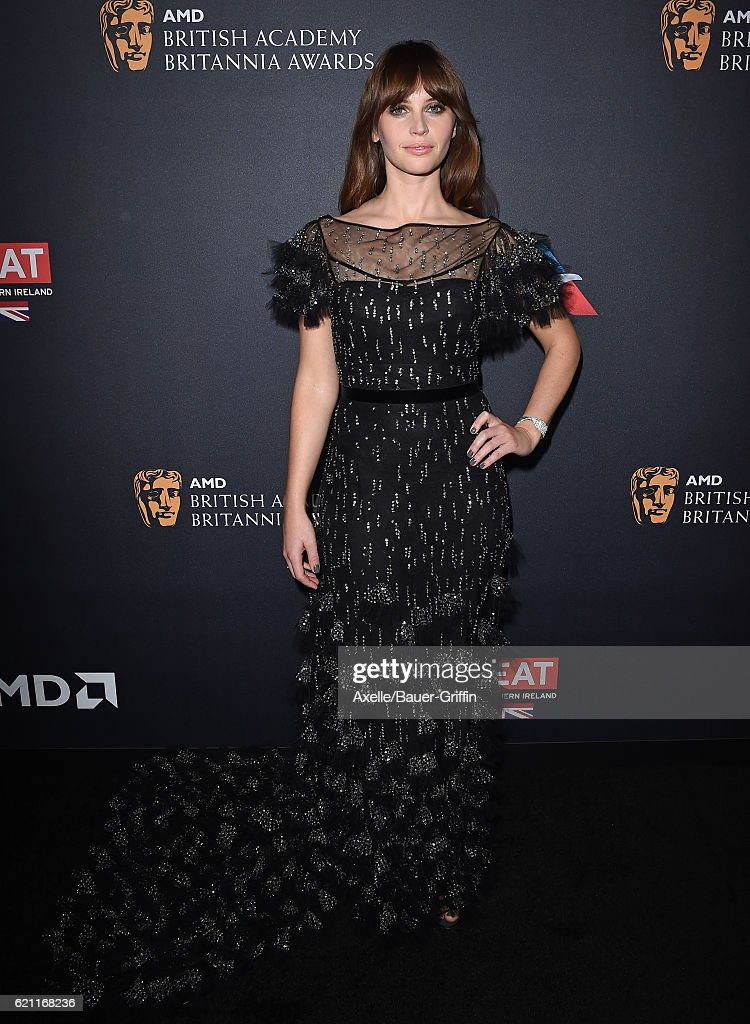Actress Felicity Jones arrives at the 2016 AMD British Academy Britannia Awards presented by Jaguar Land Rover and American Airlines at The Beverly Hilton Hotel on October 28, 2016 in Beverly Hills, California.
