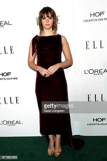 Actress Felicity Jones arrives at the 23rd Annual ELLE Women in Hollywood Awards at Four Seasons Hotel Los Angeles at Beverly Hills on October 24...