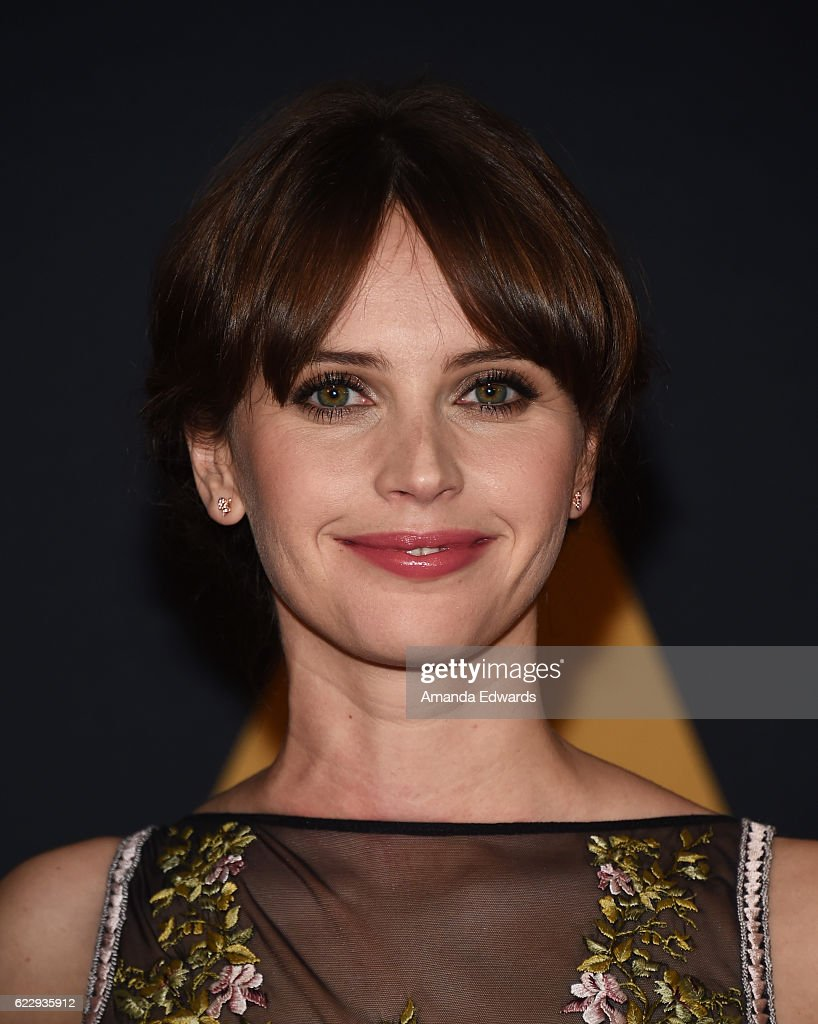 Actress Felicity Jones arrives at the Academy of Motion Picture Arts and Sciences' 8th Annual Governors Awards at The Ray Dolby Ballroom at Hollywood & Highland Center on November 12, 2016 in Hollywood, California.