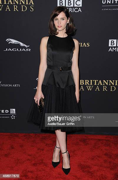 Actress Felicity Jones arrives at the BAFTA Los Angeles Jaguar Britannia Awards at The Beverly Hilton Hotel on October 30, 2014 in Beverly Hills,...