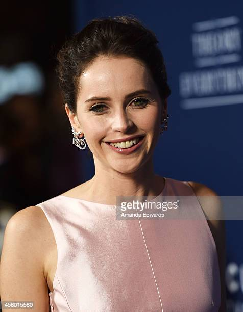 Actress Felicity Jones arrives at the Los Angeles premiere of The Theory Of Everything at the AMPAS Samuel Goldwyn Theater on October 28 2014 in...