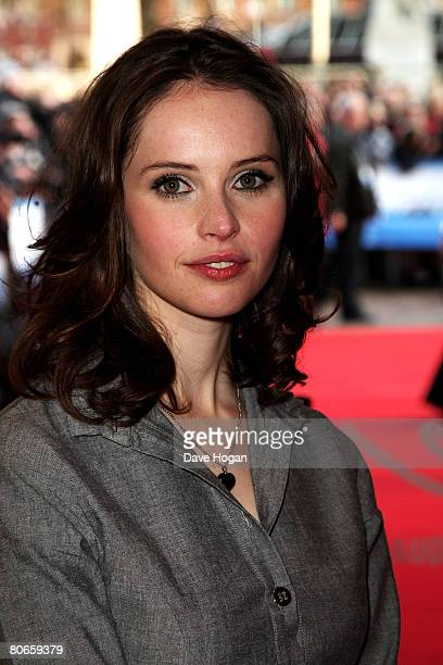 Actress Felicity Jones arrives at the UK premiere of 'Flashbacks of a Fool' at the Empire cinema Leicester Square on April 13 2008 in London England