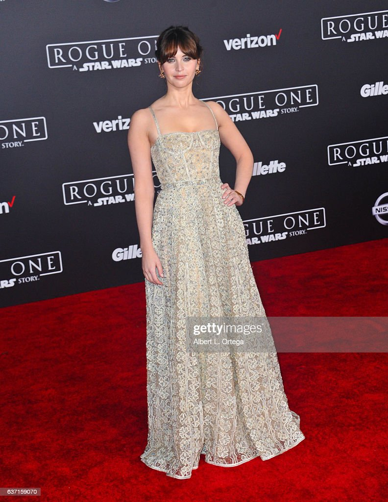 Actress Felicity Jones arrives for the Premiere Of Walt Disney Pictures And Lucasfilm's 'Rogue One: A Star Wars Story' held at the Pantages Theatre on December 10, 2016 in Hollywood, California.