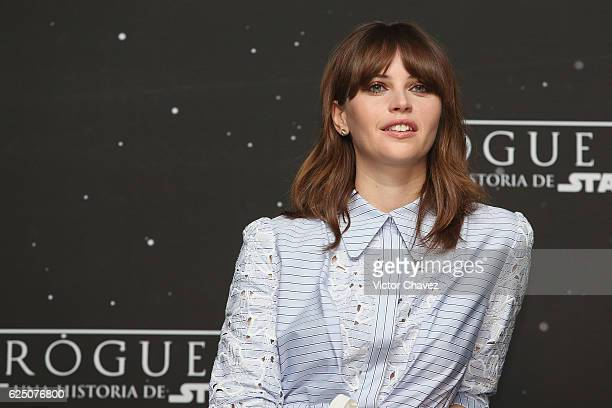 Actress Felicity Jones attends a press conference and photocall to promote the film Rogue One A Star Wars Story at St Regis Hotel on November 22 2016...