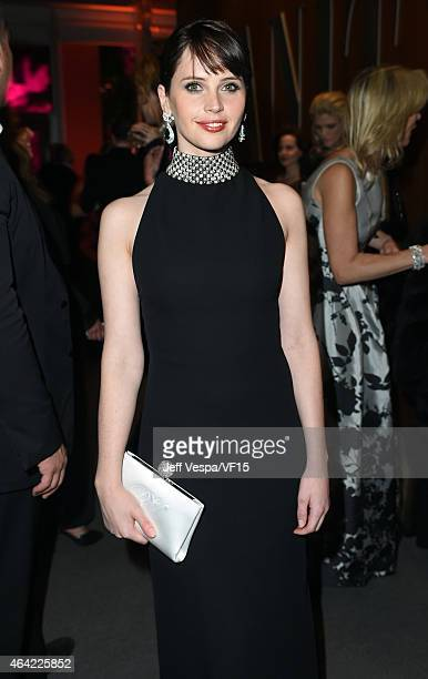 Actress Felicity Jones attends the 2015 Vanity Fair Oscar Party hosted by Graydon Carter at the Wallis Annenberg Center for the Performing Arts on...