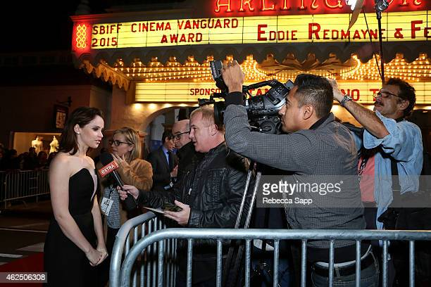 Actress Felicity Jones attends the 30th Santa Barbara International Film Festival 'Cinema Vanguard' award for 'The Theory of Everything' at the...