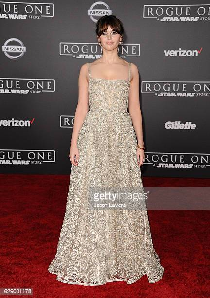 Actress Felicity Jones attends the premiere of Rogue One A Star Wars Story at the Pantages Theatre on December 10 2016 in Hollywood California
