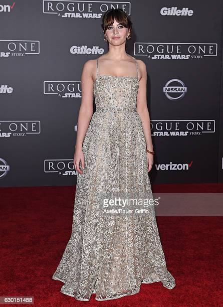 Actress Felicity Jones attends the premiere of 'Rogue One A Star Wars Story' at the Pantages Theatre on December 10 2016 in Hollywood California