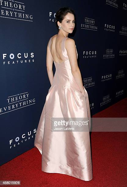 Actress Felicity Jones attends the premiere of The Theory of Everything at AMPAS Samuel Goldwyn Theater on October 28 2014 in Beverly Hills California