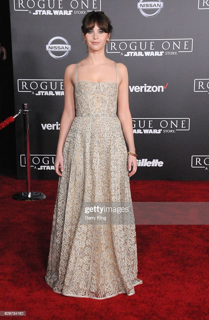 Actress Felicity Jones attends the premiere of Walt Disney Pictures and Lucasfilms' 'Rogue One: A Star Wars Story' at the Pantages Theatre on December 10, 2016 in Hollywood, California.
