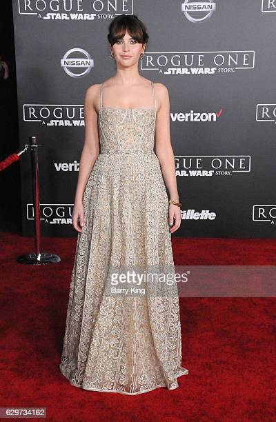 Actress Felicity Jones attends the premiere of Walt Disney Pictures and Lucasfilms' 'Rogue One A Star Wars Story' at the Pantages Theatre on December...
