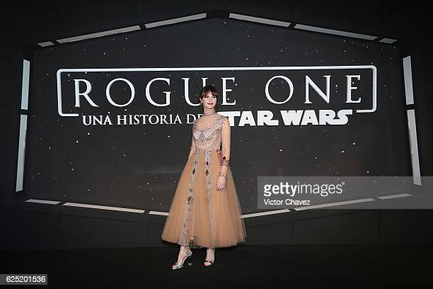 Actress Felicity Jones attends the Rogue One A Star Wars Story Mexico City fan event black carpet at Cinemex Antara on November 22 2016 in Mexico...