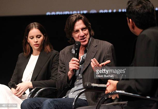 Actress Felicity Jones director James Marsh and MoMA Chief Curator of Film Rajendra Roy attend The Contenders Screening and QA of The Theory of...