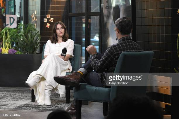 """Actress Felicity Jones visits the Build Series with host Ricky Camilleri to discuss the Amazon Studios film """"The Aeronauts"""" at Build Studio on..."""