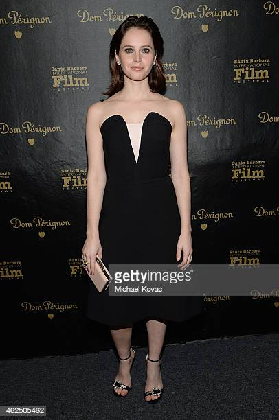 Actress Felicity Jones visits the Dom Perignon Lounge after receiving the Cinema Vanguard Award at The Santa Barbara International Film Festival on...